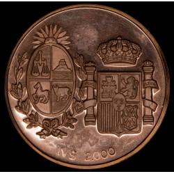 Uruguay Prueba en Cobre de Moneda de 2000 N$ 1983 Visita de los reyes de España Reverso