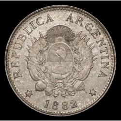 Argentina 20 Centavos 1882 CJ19.2 Ag EXC-