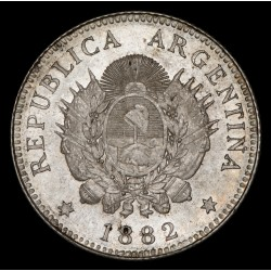 Argentina 20 Centavos 1882 CJ19.6 Ag UNC