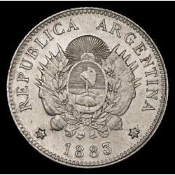 Argentina 20 Centavos 1883 CJ20.5 Ag EXC-