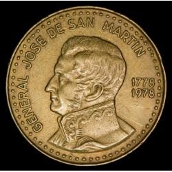 Argentina 100 Pesos 1978 CJ305.2 Canto Estriado Fino Bronce MB+