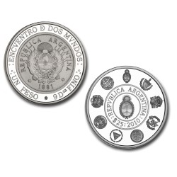 Argentina 8 Serie Iberoamericana Monedas Historicas $25 2010 CJ10.7 Ag Completa UNC