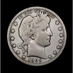Estados Unidos 1/4 de Dolar Barber 1909O KM114 Ag B+