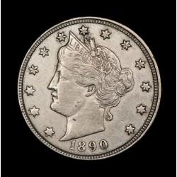 Estados Unidos 5 Centavos de Dolar 1890 KM112 Cuproniquel MB/EXC