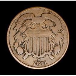 Estados Unidos 2 Centavos 1871 KM94 Cobre B/MB-