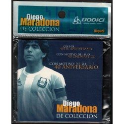 X25 Unidades Medalla Maradona 40 Aniversario Niquel Blister Cerrado