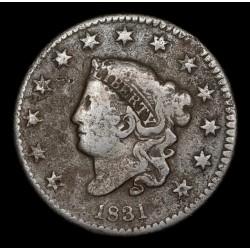 Estados Unidos 1 Centavo 1831 KM45 Cobre B+