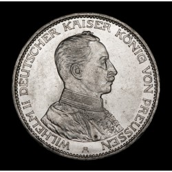 Alemania Prussia 3 Marcos 1914A KM538 Ag EXC+