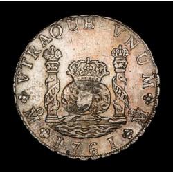 Mexico 8 Reales Columnario 1761 MM Carlos III KM105 Ag MB