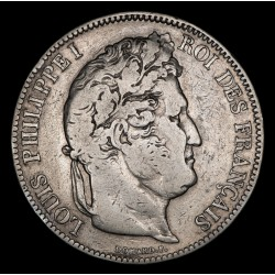 Francia 5 Francos 1833T KM749.12 Luis Felipe I Ag MB