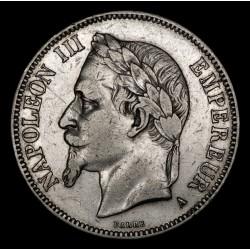 Francia 5 Francos 1868A KM799.1 Napoleon III Ag MB+