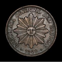 Uruguay 4 Centesimos 1869H KM13 Cobre EXC
