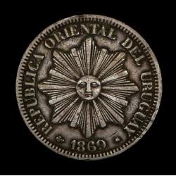 Uruguay 4 Centesimos 1869A KM13 Cobre MB/MB+