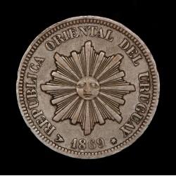 Uruguay 2 Centesimos 1869H KM12 Cobre MB/EXC