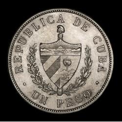 Cuba 1 Peso 1933 KM15.2 Ag EXC