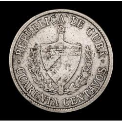 Cuba 40 Centavos 1920 Low Relief KM14.3 Ag MB+