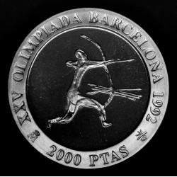España 2000 Pesetas 1990 KM861 Olimpiadas Barcelona 92 Arquero Ag Proof UNC