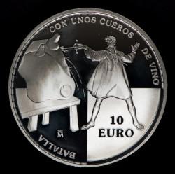 España 10 Euro 2005 KM1105 Quijote Batalla con unos Cueros de Vino Ag Proof UNC