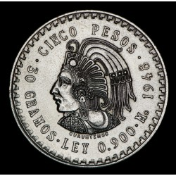 Mexico 5 Pesos 1948 KM465 Ag UNC
