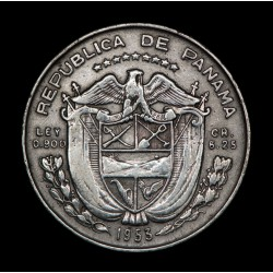 Panama 1/4 Balboa 1953 KM19 Ag MB+
