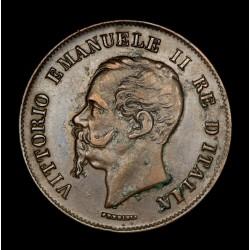 Italia 5 centesimi 1861M KM3.2 Cobre EXC