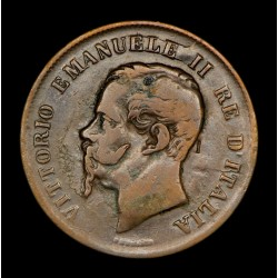 Italia 5 centesimi 1862N KM3.3 Cobre MB