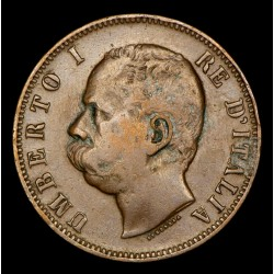 Italia 10 centesimi 1893R KM27.2 Cobre MB+