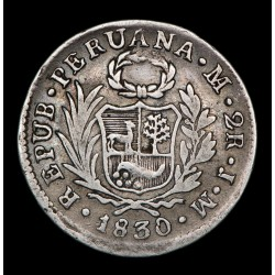 Peru 2 Reales 1830 JM KM141.1 Ag MB