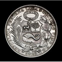 Peru 1 Sol 1916 FG KM196.28 Ag EXC