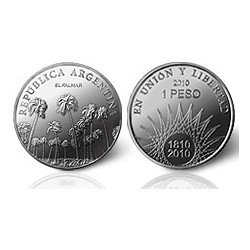 Republica Argentina 1 Peso 2010 Bicentenario El Palmar Ag Proof UNC