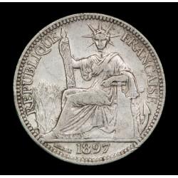 Indochina Francesa 10 Cents 1897A KM2a Ag VF+