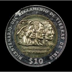 ERROR Doble Capado Uruguay 10 Pesos 2015 KM141 Bimetalica UNC