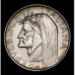 Italia 500 Liras 1965R Dante Alighieri KM100 Ag UNC