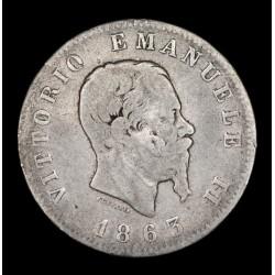 Italia 1 Lira 1863 T BN KM5a.2 Ag B