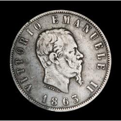 Italia 2 Liras 1863T BN KM6a.2 Ag MB