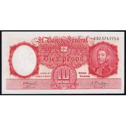 REPOSICION B1973a 10 Pesos 1960/61 MN Fabregas - Mendez Delfino FILC UNC