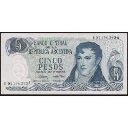 REPOSICION B2333 5 Pesos 1975/76 Ley 18.188 F1 Mondelli - Cairoli EXC