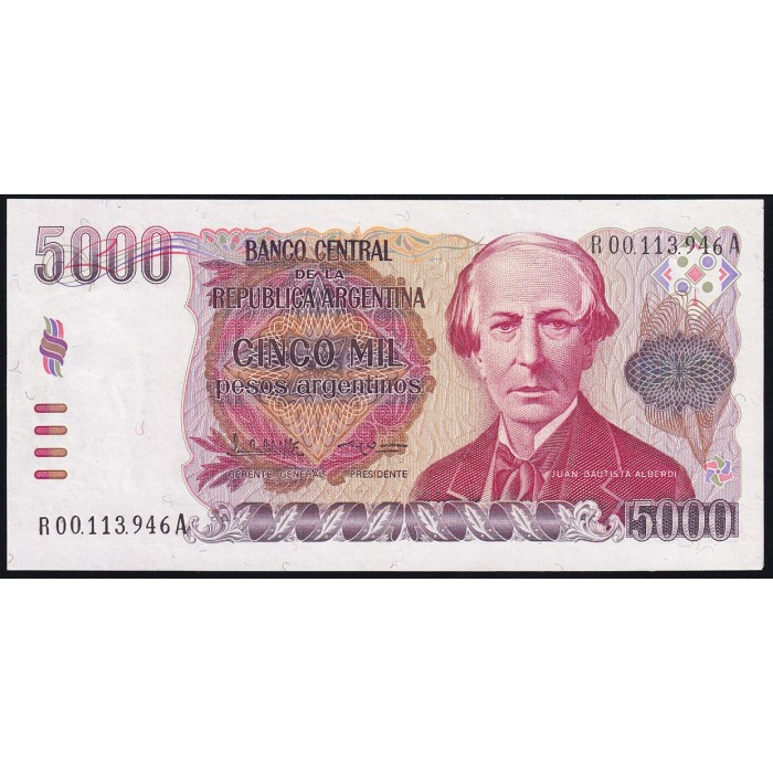REPOSICION B2640a 5000 Pesos Argentinos 1984/85 Lopez - Garcia Vazquez F4C EXC+