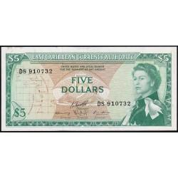 Caribe del Este 5 Dolares 1965 P14h EXC
