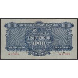 Checoslovaquia 1000 koronas 1945 P57s Specimen Perforado MB+
