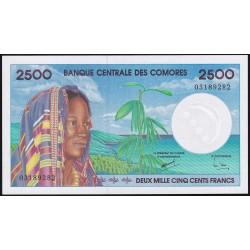 Comores 2500 Francos 1997 P13 UNC