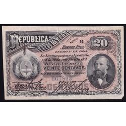 COL012b 20 Centavos 1884 MB+