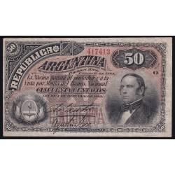 COL016 50 Centavos 1884 Firmas Roca - Sastre EXC